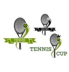 Tennis emblems with rackets and ribbons vector image