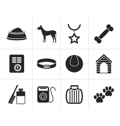 Black dog accessory and symbols icons vector