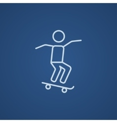 Man riding on skateboard line icon vector