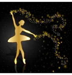 Gold ballerina on dark background vector