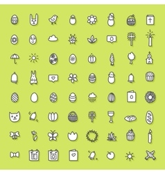 Easter icons hand drawn collection vector