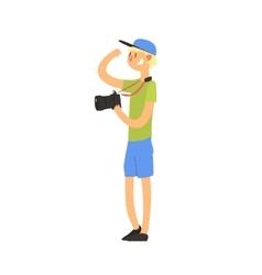 Teenager tourist with camera vector
