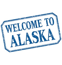 Alaska - welcome blue vintage isolated label vector
