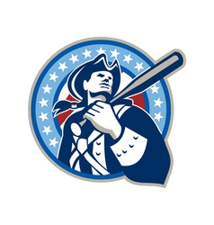 American Patriot Baseball Bat Retro vector image vector image