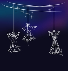 Angels the christmas tree decoration vector