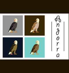 Assembly of flat icons on theme of andorra eagle vector