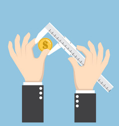 Businessman hand measuring dollar with calipers vector
