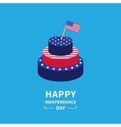 Cake and flag Independence day 4 of July vector image