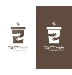 coffee cup and hands logo combination Cafe vector image vector image