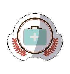 Color sticker with circle with firts aid kit with vector