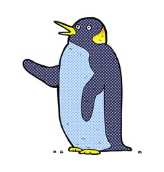 comic cartoon penguin waving vector image vector image