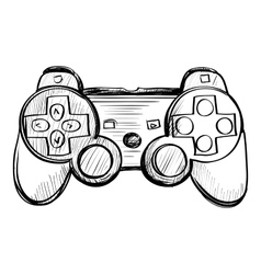 doodle gamepad on a white background vector image