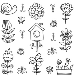 Doodle of spring flower leaf vector