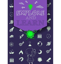 Education poster with symbols and text vector image vector image