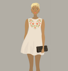Fashion model in the white embroidered dress vector