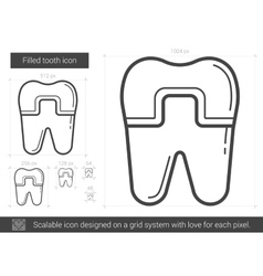 Filled tooth line icon vector image vector image