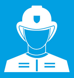 Firefighter icon white vector