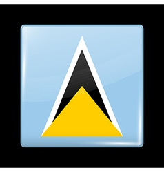 Flag of saint lucia glossy icon square shape vector