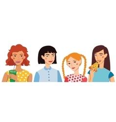 Four cute girls friends vector