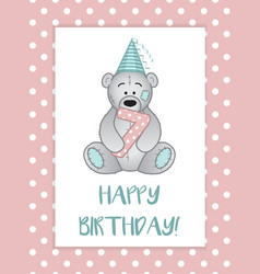 greeting card for birthday child teddy bear in vector image vector image