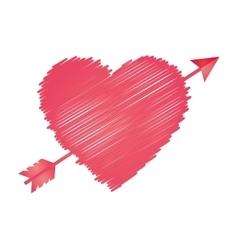 heart love sketch design vector image vector image