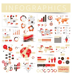 Infographics set clear red vector