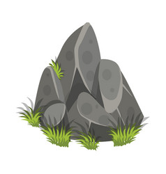 isometric cartoon rock slab with grass - tileset vector image vector image