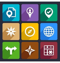 Map GPS and Navigation Flat Icons Set 46 vector image vector image