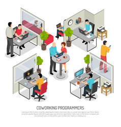 Programmers coworking space isometric composition vector