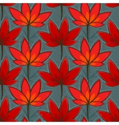 Seamless pattern with red leaves vector image vector image
