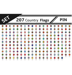 set 207 country flag pin vector image