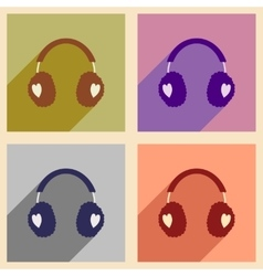 Set flat icons with long shadow earmuffs hearts vector