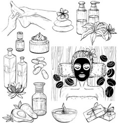 Set of spa icons sketch vector