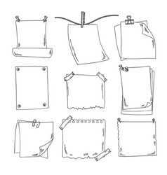 sketch papers and different notepapers set vector image