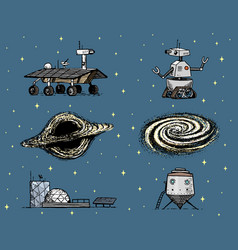 space shuttle black hole and galaxy robot and vector image
