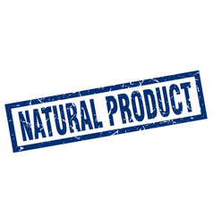 Square grunge blue natural product stamp vector