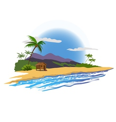 tropical beach with house vector image