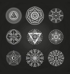 White mystery occult alchemy mystical esoteric vector