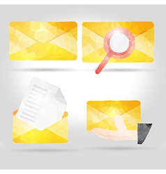 Yellow envelope in polygon crumpled paper vector