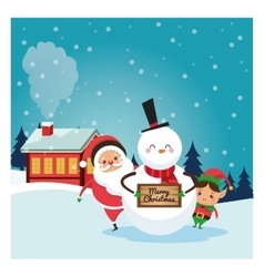 Santa elf snowman icon merry christmas design vector