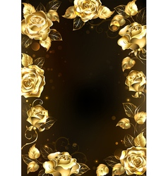Frame with gold roses vector