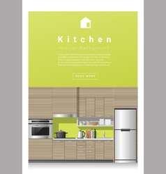 Interior design modern kitchen banner 3 vector