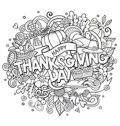 Cartoon hand drawn doodle thanksgiving vector