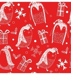 seamless background with penguins Holidays vector image