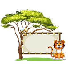 A blank signage with a tiger and a bee vector