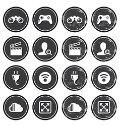 Web navigation icons on retro labels set vector image