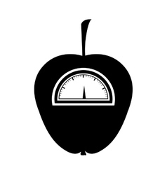 Black silhouette of apple with stem and scale vector