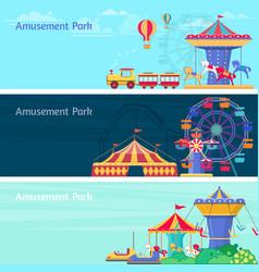amusement park banner set with different vector image