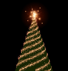 Background with green christmas tree vector