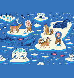 North pole seamless pattern with wild animals vector